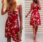Red White Floral Spaghetti Strap Cross Wrap V Neck Tulip Mini Dress Cute NWT