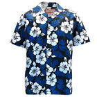 Mens Clancey Classic Authentic Blue Hibiscus Hawaiian Shirt S-2XL