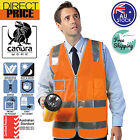 NEW HI VIS Vest Zip Safety Orange Reflective Tape Workwear Night Day Use POCKET