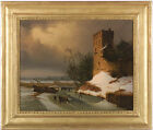 """Leopold Till (1830-1893) """"Winter Landscape with Ice-Skaters"""" oil painting, 1850s"""