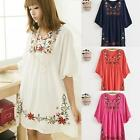 Lady Vintage Mexican Ethnic Floral Embroidered #A Hippie Blouse Tops Boho Dress