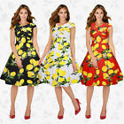 Women's Lemon Print Party  Office Prom Cocktail Swing Party Evening Long Dress