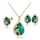 5 Colors Party Wedding Rhinestones Glass Necklace Earrings Ring Jewellery Set