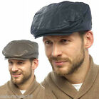 Mens Waxed Flat Cap Tartan Lined Adult Hunting Farmers Country Cap Hat M L