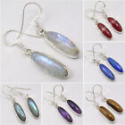 925 Silver LONG Earrings ! MOONSTONE, AMETHYST & More Stones Variation To Choose
