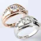 A1-R063 Men's Solitaire Band Fashion Ring 18KGP Rhinestone Crystal Size 6.5-14