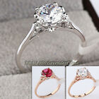 B1-R651 Fashion Solitaire Engagement Wedding Ring CZ 18KGP Crystal Size 5.5-6.5