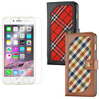 Luxury Leather Plaid Holder Wallet Stand Flip Cover Case For iPhone 6S 7 7 Plus