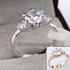 A1-R004 3-Stone Engagement Wedding Ring 18KGP Rhinestone Crystal Size 5.5-9