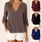 Women's Deep V Neck Sexy Blouse Long Sleeve Stylish Solid Casual Chiffon Tops