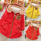 1-5 Y Girls Toddlers Hooded Fleece Lining Coats Winter Bear Print Parka Jackets