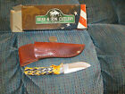 "2  PCS. -BEAR & SONS - 6 1/2""  STAG  DROP  POINT  HUNTER  & 4 BLADE GREEN 4"""
