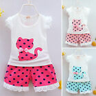 Cute Baby Kids Girls Polka Dot Party Lace Vest Top + Pants Summer Outfit Clothes