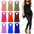New Ladies High Choker V Neck Cut Out Plunge Sleeveless Plain Blouse Shirt Top