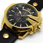 Men's Oversized Black Leather Analog Quartz Military Gold Case Sport Wrist Watch