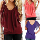 Fashion Womens Loose Casual Off Shoulder T Shirt Summer Short Sleeve Tops Blouse