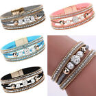Punk Magnetic Clasp Multilayer Leather Beaded Bling Crystal Women's Bracelet CA