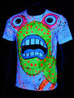 "Schwarzlicht T-Shirt Neon ""SPLAT MONSTER YELLOW UNISEX WHITE"" Party Festival"