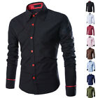 Kyпить Fashion Mens Luxury Stylish Casual Dress Shirt Slim Fit T-Shirts Long Sleeve New на еВаy.соm