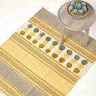 Cotton Rug Grey Ochre Yellow Chenille Striped Hand Tufted Circles & Hand Woven