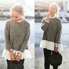 US Stock Women Long Sleeve Pullover Sweater Loose casual Jumper Tops knit Blouse