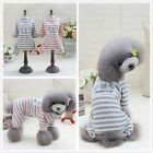 Dog Pet Summer Pajama Clothes Puppy Doggy Striped T-shirt Shirt Jumpsuit Apparel