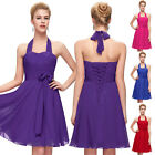 Purple~ Short Chiffon Evening Party Prom Gown Formal Bridesmaid Cocktail Dresses