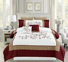 12 Piece Adabelle Burgundy/White/Taupe Bed in a Bag w/500TC Cotton Sheet Set