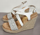 Salvatore Ferragamo 'Gioela' Wedge Sandal White Leather Womens Various Sizes