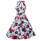 Vintage Style Party Cocktail Prom Floral Printed 50'S Rock Check Swing Pinup