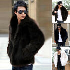 Xmas Sales Men Faux Fox Fur Fluffy Warm Winter Waist Coat Jacket Long Sleeve