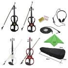4/4 Beginners Electric Violin with Ebony Fittings Cable Headphone Case New V1X5