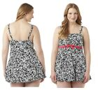 A SHORE FIT Womens Plus One Piece Swimsuit Abstract Black White size 20W 22W NEW