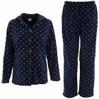 NEW Totally Pink Women's Navy Blue with White Polka Dots Fleece Pajamas