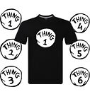 Dr Seuss Cat in the Hat T-shirts Thing 1 – Thing 6 Mens Black Tee Funny Gift