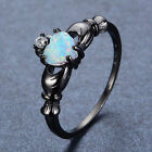 Claddagh Heart White Fire Opal & CZ Ring Black Gold Filled Women's Band Sz 5-11