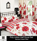 KENZIE CREAM/RED Duvet Quilt Cover with Pillow Case SINGLE DOUBLE KING S KING