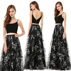 Ever-Pretty Black Long Prom Dress Evening Ball Gown Floral Summer Dress 08980