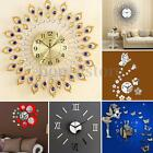 Iron Art Metal Living Bed Room Round Diamond Wall Clock Watch Home Wall Decor US