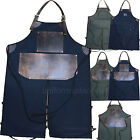 Mens Work Apron Adult Mechanic, Split Legs Canvas bib Aprons Heavy Duty USA MADE