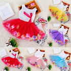 Flower Princess Baby Pageant Party Tutu Lace Bowknot Skirt Kid Girls Dress 0-4T