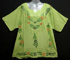 New Peasant Green Top Shirt Blouse Embroidery Floral Paint One Size XL 1X