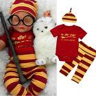 Harry Potter Newborn Baby Girl Boy Clothes Romper+Pants+Hat Outfits Set US Stock