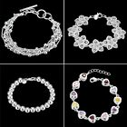 Chic Women's 925 Sterling Silver Solid Charm Chain Bracelet Bangle Jewelry Gifts
