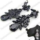 CLIP ON BIG SPARKLY EARRINGS rhinestone CRYSTAL vintage jet black/silver CLIPS