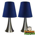 Bedroom Table Lamps Bedside 2 Lamp Set Touch Light Sets Small Side Blue Shades
