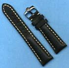 GENUINE OMEGA STEEL BUCKLE AND 22mm GENUINE LEATHER VERY PADDED MB BAND STRAP WS