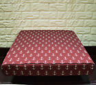 AL264t Pale Beige on Dark Red Anchor Cotton Canvas 3D Box Seat Cushion Cover Siz