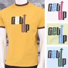 Get Up Crew Neck All Cotton Short Sleeve Retro Ringer Logo T-shirt