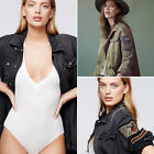 Denim Women's Embroidered  Embellished Military Shirt Jacket Outwear Coat Button